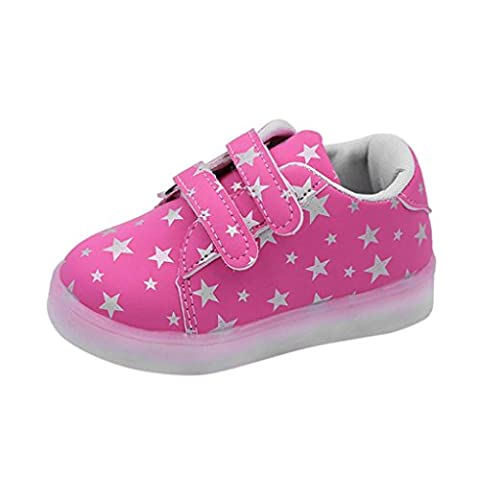LED Schuhe Kinder, FNKDOR Baby Mädchen Jungen Licht Turnschuhe Leuchtend Blinkschuhe Sportschuhe, 1-6 Jahre (26 Länge: 16.2CM, Rosa)