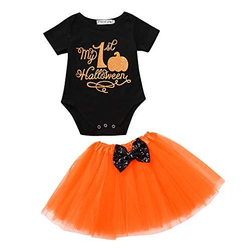 arm Kürbis Szene Print Halloween Overall 2PC Kleinkind Mädchen Brief Strampler Mesh Rock Halloween Kostüm Letter Pumpkin Romper Mesh Skirt ()