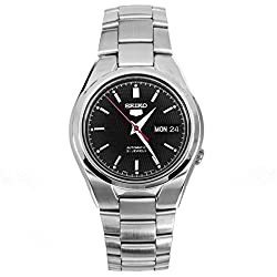 Seiko Men's Automatic Watch with Black Dial Analogue Display and Grey Stainless Steel Bracelet SNK607
