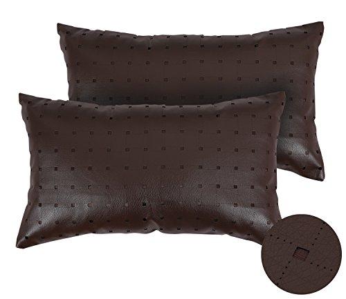 Deconovo federa per cuscini in ecopelle con motivo geometrico federa per divano 30x50 cm cioccolato set da 2