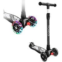 Yoleo Kinderroller Dreiradscooter mit LED große Räder 2 Hinterräder-Design Stabil Stoßdämpfung, klappbar einfach mitzunehmen, höheverstellbarem Schwerkraftlenkung ab 3 Jahre, bis 100kg belastbar