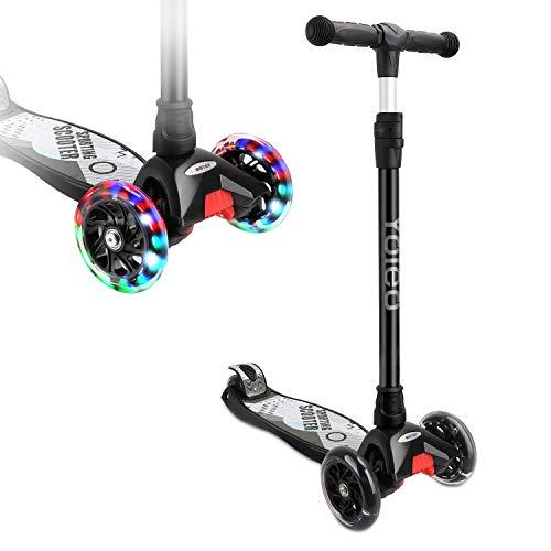 Yoleo Kinderroller Dreiradscooter Kinderscooter mit LED 2 Hinterräder Stabil Stoßdämpfung, klappbar höheverstellbar Schwerkraftlenkung für Kinder Jungen Mädchen ab 3 4 5 6 Jahre, bis 100kg belastbar