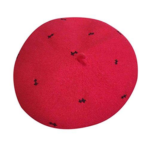 Mode Damen Künstler Hut Ski Patch Cap Kappe TUDUZ Neue Beiläufige Frauen Suede Fabric Art und Weise Barett Hüte Wollmütze (Rot)