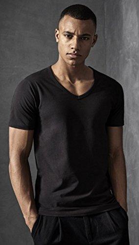 Jack and Jones Herren T-Shirt Basic V-Ausschnitt 4er Pack Einfarbig Slim Fit in Weiß Schwarz Blau Grau INKL. Gratis Wäschenetz von B46 4er Pack schwarz