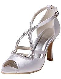 Kevin Fashion gymz663Ladies elegante Rhinestones raso noche fiesta novia boda sandalias