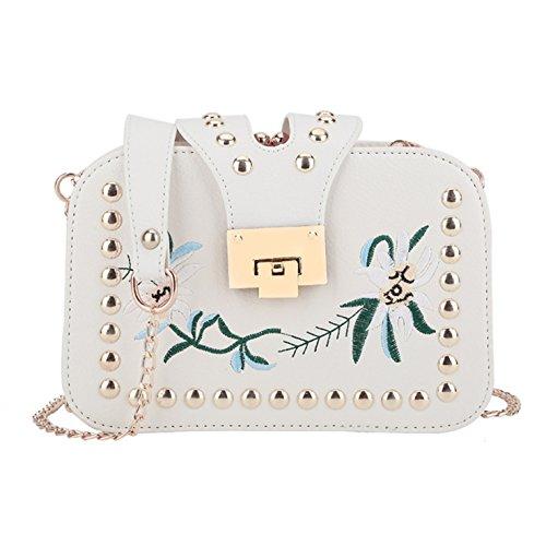 Minetom Ledertasche Damen Stickerei umhängetasche Handtasche Satchel Messenger Purse Tasche - Cremeweiß
