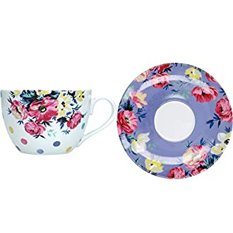 Mikasa Clovelly Tazzina da tè e piattino con Motivo Floreale, in Confezione Regalo, Porcellana