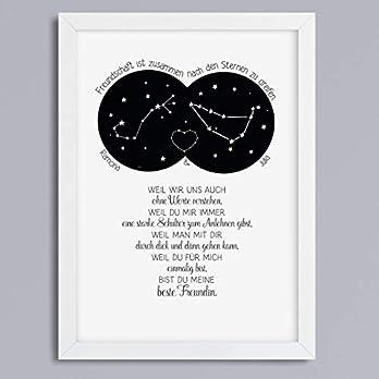 Kunstdruck Freundschaft Sternzeichen personalisiert Geschenk für beste Freundin optional mit Rahmen