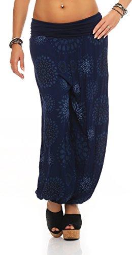 Mr.Shine Damen Pumphose Pluderhose Harem-Stil Sommerhose all over Print Freizeithose Aladinhose Hose One Size