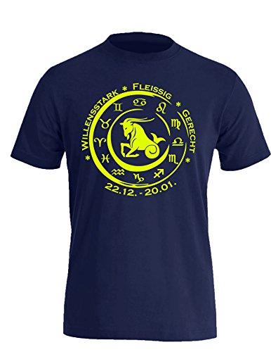 Sternzeichen Steinbock - Astrologie - Herren Rundhals T-Shirt Navy/Neongelb