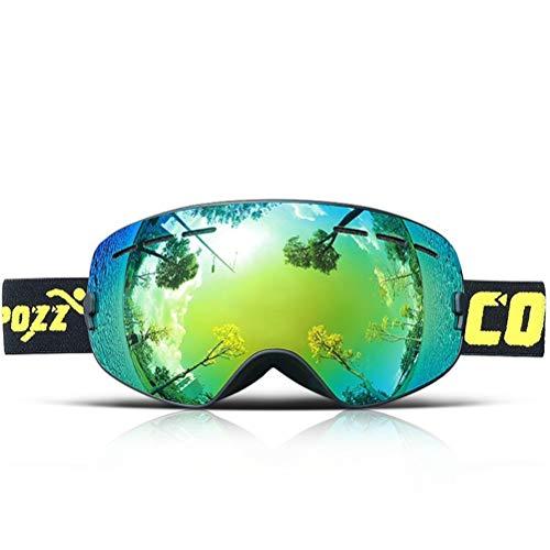 HSENA Kinder Skibrille Mädchen Jungen Double-Layers Objektiv Verstellbarer Gummiband Anti-UV Anti-Fog Explosionsgeschützte Brille