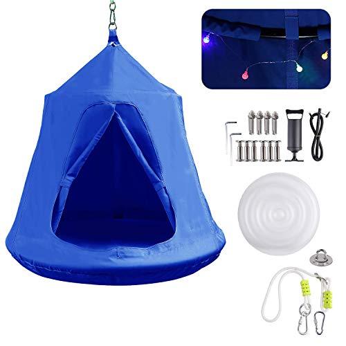 femor Hängezelt, Hängenest mit LED-Leuchten, Tragkraft bis 100KG, blau (Wahl des Festgeschenk)