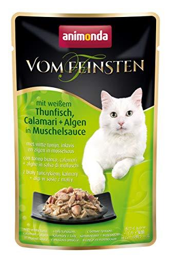 Animonda vom Feinsten Adult, Nassfutter für ausgewachsene Katzen von 1-6 Jahren, mit weißem Thunfisch, Calamari + Algen in Muschelsauce, im Frischebeutel, 18er Pack (18 x 50 g)