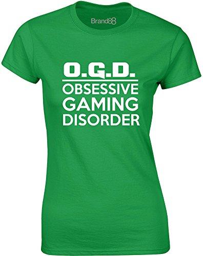 Brand88 - O.G.D., Gedruckt Frauen T-Shirt Grün/Weiß