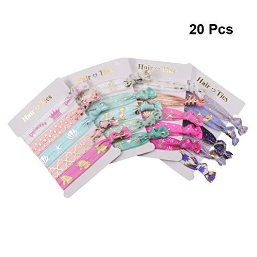Lurrose Einhorn geknotete Haargummis Gummibänder Pferdeschwanz Inhaber Haar Band Armband für Mädchen 20 Stück (Mischmuster)