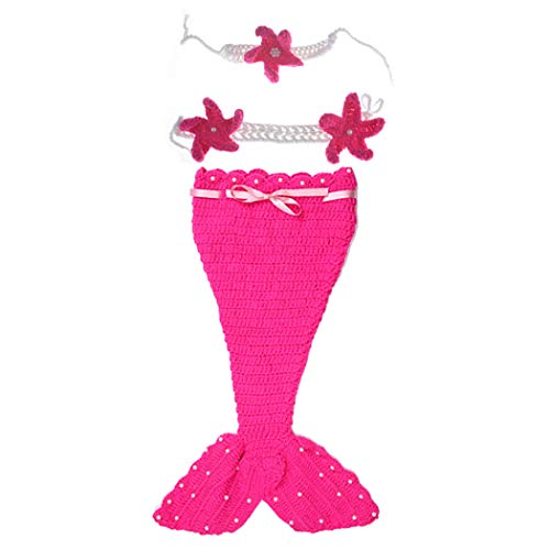 Blume Neugeborene Kostüm - Joyibay 3 Stücke Baby Fotografie Prop Set Schöne Meerjungfrau Blume Neugeborenen Häkeln Kostüm