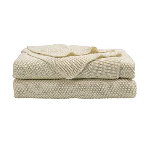 olle Stricküberwurfdecke - Soft Fest Dekorative Gestrickte Decke für Sofa-Couch Schlafzimmer Beige 70