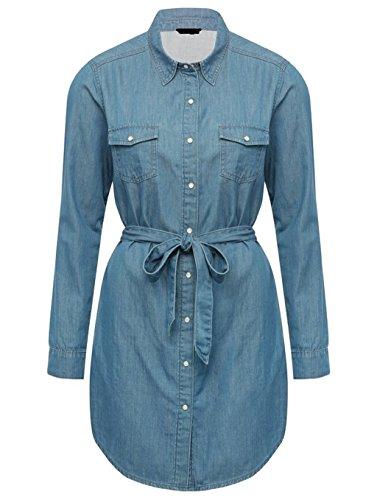 EX M&5 Ladies Chambray Denim Tie Belt Shirt