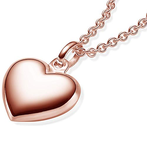 Herzkette Rosegold Kette Damen *Silber 925 hochwertig vergoldet* +GRATIS Etui mit Gravur Echt Herzanhänger Herzchenkette Halskette Herz Anhänger Frau Frauen Freundin FF74VGRS45