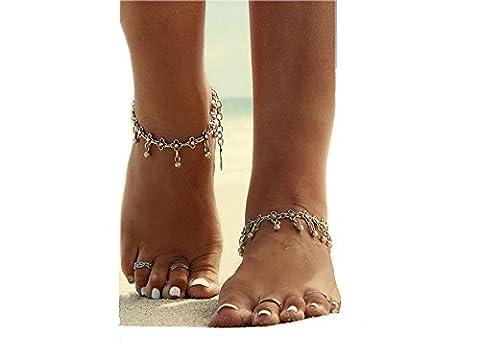 ILOVEDIY Anklet Bracelet de Cheville Argent Indien Perle Infini Femme