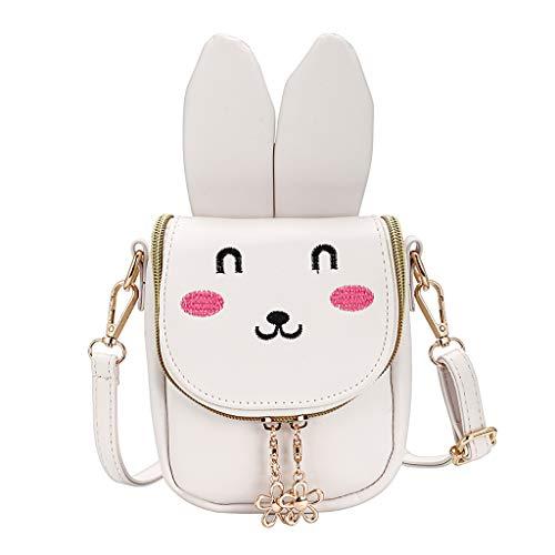 BTSKY PU kleine Mädchen Crossbody Umhängetasche - süße Umhängetasche Geldbörsen Tasche Snack Bag für Kleinkind Kinder, beste Geschenk für kleine Mädchen (Beige Hase)