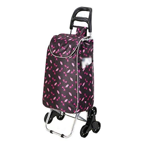 FXJ Treppenhaus-Einkaufstasche-Faltbare Tragbare aufgefüllte Wasserdichte Taschen-Aluminiumlegierung-Stille Rad-Karren können 50kg Gewicht tolerieren (Farbe : A)