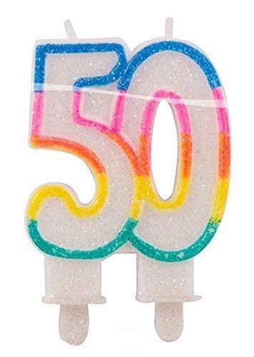 bb10 Schmuck Geburtstagskerze Zahl 50 Glitterkerze für 50.Geburtstag Kerze für Torte Tortenkerze Dekoration für Geburtstag Jubiläum Party oder andere Anlässe