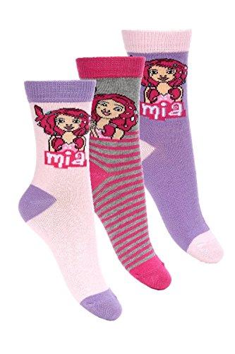 Mia and Me 3er Pack Kinder Socken Set (4435) Bequeme Strümpfe für Jungen und Mädchen aus Baumwolle mit Mia and Me Motiven, Pack#2, Gr. 31/34