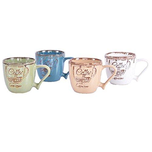 Taza para café vintage en cerámica - 330 cc - (14x9x9,5 cm) - Azul