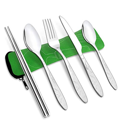 RayPard Camping Cutlery Utensils, Durable Stainless Steel Lightweight Construction Cutlery Set, Travel Mess Kit with Spoon, Teaspoon, Knife, Fork and Chopsticks, Comes in A Carrying Case (Green)