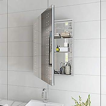 Elegant Bathroom Mirror Cabinet Led Single Door 500 X