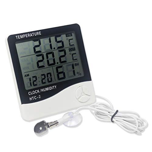 KETOTEK Temperaturwächter Thermo-Hygrometer Thermometer Messinstrumente Raumluftüberwachtung Temperaturmessgerät LCD Digital Wecker Erinnerung Succulometer innen (HTC-2) (Luftbefeuchter, Outdoor-sensor)