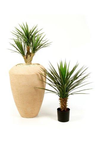artplants – Künstlicher Yucca Busch Keyla mit 107 Blättern, Deluxe, 70 cm – Unechte Palmen Pflanze/Kunstpflanze