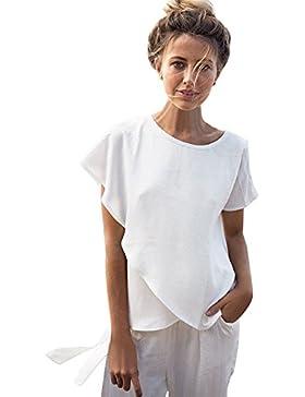 Yiitay Donna Estate 2017 Asimmetria Manica Corta Girocollo Tinta Unita Magliette Sallentate Sciolto T-shirt Tops