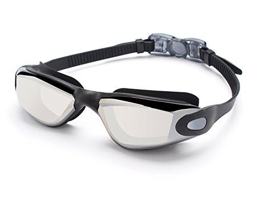 Erwachsene Schwimmbrille Antibeschlag UV Schutz Spiegel Getönte Gläser Taucherbrille(Schwarz) (Brille Mit Scheibenwischer)