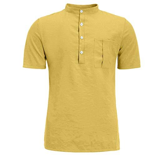 Crazboy Herren Sommer Neue Reine Baumwolle Hanfhemd Knopf kurzen Ärmeln Mode große Bluse Top(X-Large,Gelb)