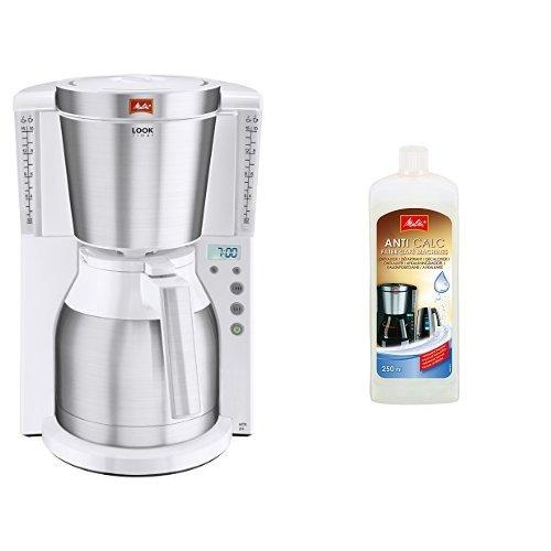 Melitta Kaffeefiltermaschine Look Therm Timer, Kalkschutz, Timer, weiß/Edelstahl 101115 + Melitta...
