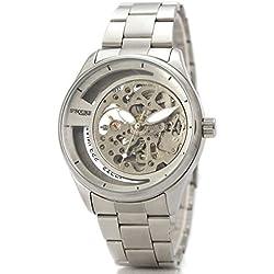 Alienwork Ssqure mechanische Automatik Armbanduhr Skelett Automatikuhr Uhr silber Metall 40017G-02