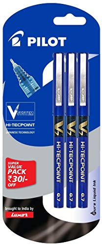 Pilot V7 Liquid Ink Roller Ball Pen - Blue Body, Blue Ink (Pack of 3)