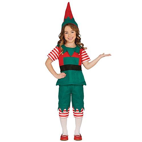 Weihnachtself Kostüm Kinder Mädchen und Jungen mit Mütze -