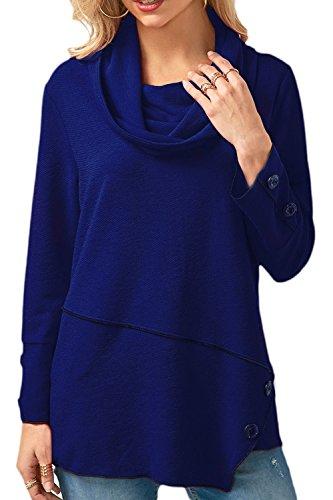 Vepodrau Donne Pila Collare Irregolare Pulsante A Mosaico Pullover Camicia Camicetta al Massimo Blue