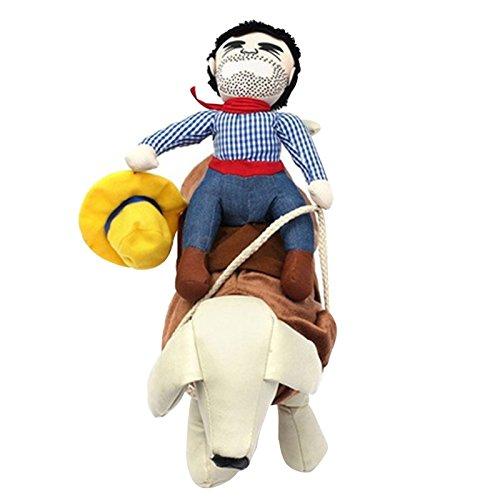 Kostüm Bichon - JIESD-Z Hundekleidung, lustiges Party-Shirt, auffälliger Cowboyreiter, Haustierkostüm, Kleidung für Teddy, Zwergspitz, Corgi, Bichon Frize (XL)