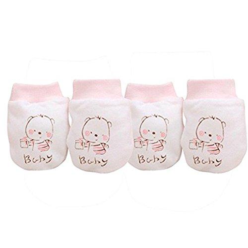 2Paar Cute Cartoon Baby Infant Jungen Mädchen Anti Kratzhandschuhe weichem Handschuhe rosa rose einheitsgröße