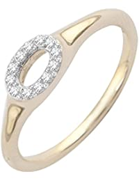 Pave Prive 9ct Yellow Gold with White Diamonds Open Oval Ring