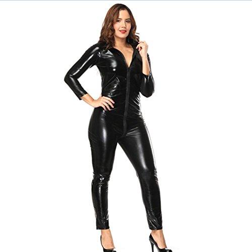 Myhope Frauen Faux Leder öffnen Schritt nass Aussehen Zipper Body Overall Uniform,XXXXL