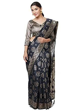 SareeShop Women's Kanjivaram Cotton Silk saree for women latest design 2018 with Blouse Piece (Apple-3109-SAREESHOP15# Black # Free Size)