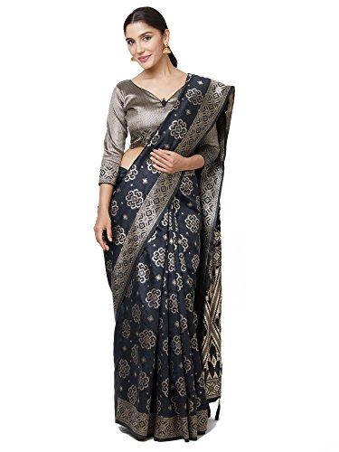 SareeShop Women\'s Kanjivaram Cotton Silk saree for women latest design 2018 with Blouse Piece (Apple-3109-SAREESHOP15# Black # Free Size)
