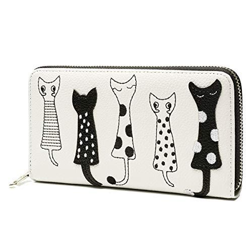 Ob ourbag portafoglio donna portafoglio con gatti porta moneteportafoglio lungo con cerniera (beige#01)