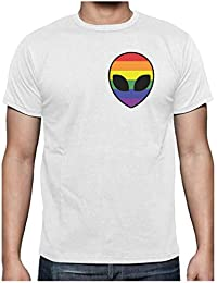 Camiseta para Hombre - Gay Alien Head Rainbow Flag - Ropa LGBT, Gay Pride