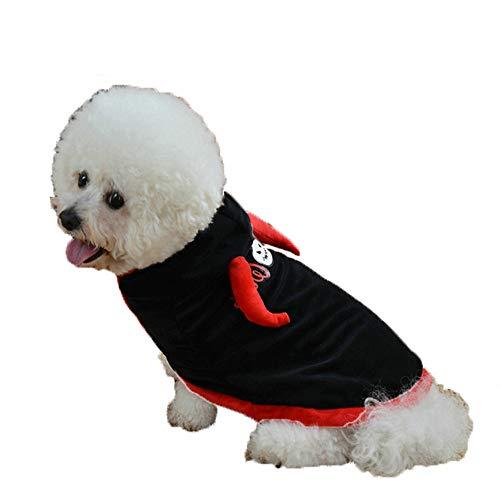Haloween Shirt für Hunde, Pet Katze Pullover Halloween Fledermaus Bedruckte Kleidung für Hund(Schwarz,XS)